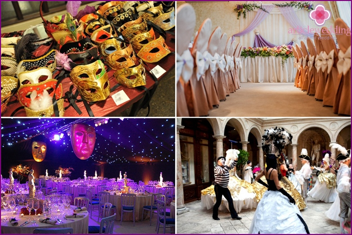 The decor of the hall for the wedding with the theme of the carnival