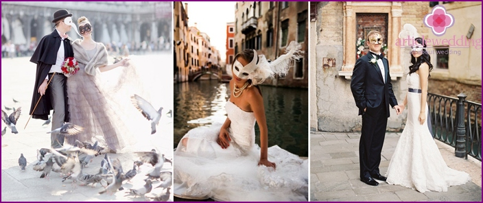 Photos of the bride and groom in a Venetian style