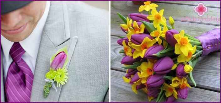Boutonniere for the groom with tulips