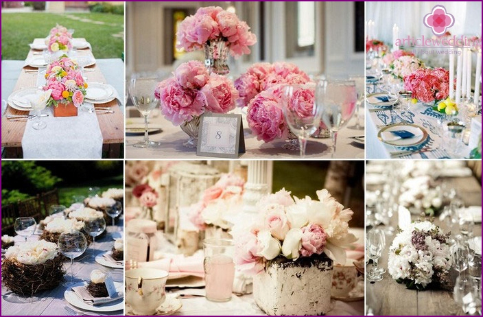 Decoration living peonies wedding