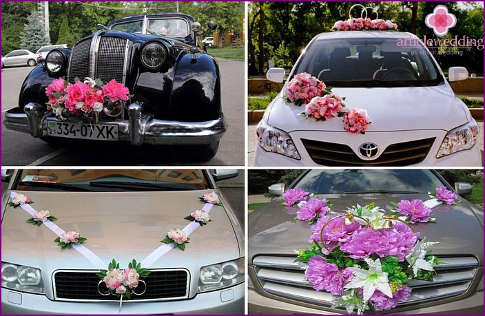 Decoration of wedding cars peonies