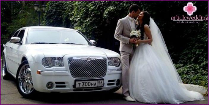 Wedding procession of American newlyweds