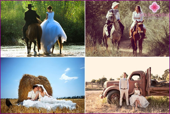 Wedding photo session in a country style