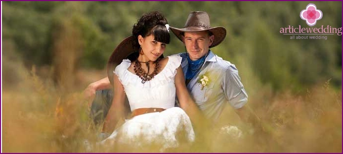 Western bride and groom