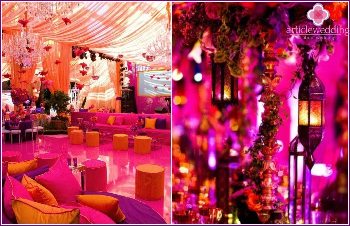Celebrating Moroccan wedding under a tent