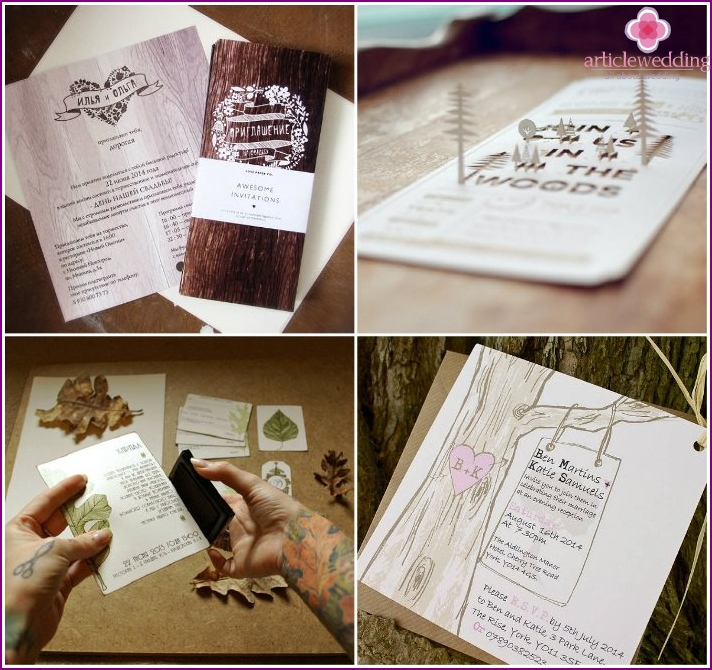 Invitations to the ceremony forest