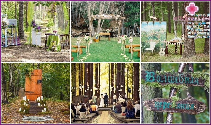 Making a wedding in the forest theme