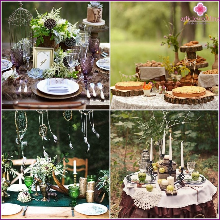 Decoration wedding table in the style of the forest