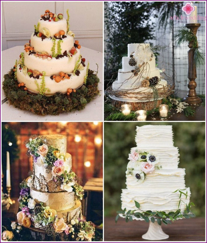 Wedding cake in the forest-style