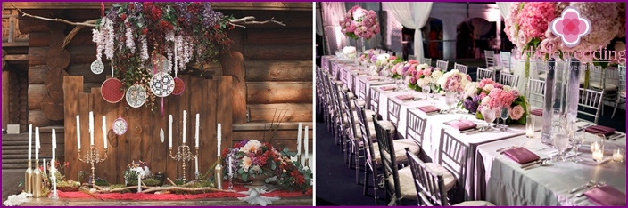 The decor of the banquet hall in berry style