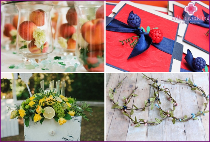 Wedding accessories in berry style
