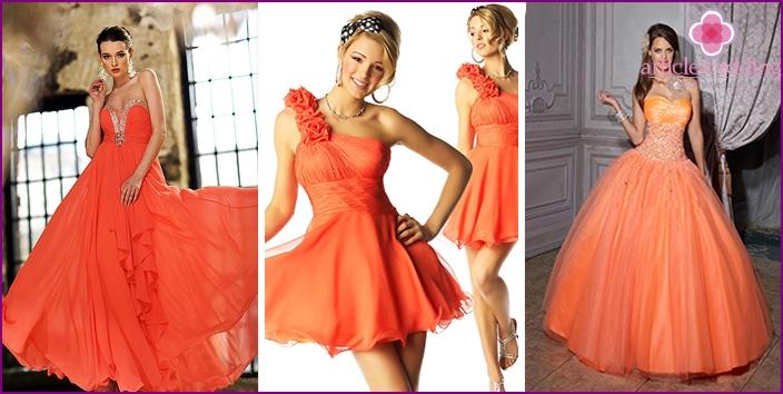 Bridesmaid dresses in orange style