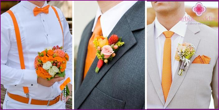 groom suit in orange style
