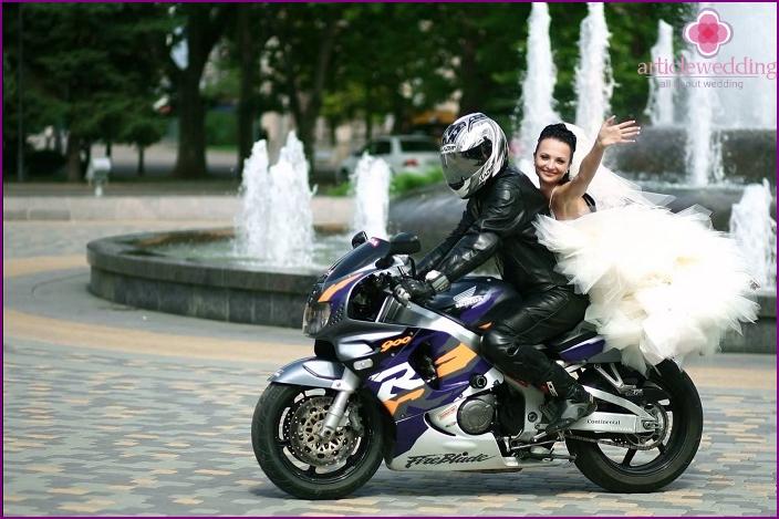 Organization of wedding celebration on motorcycles