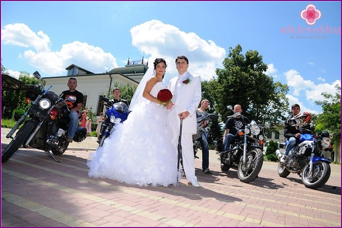 Wedding procession of motorcycles