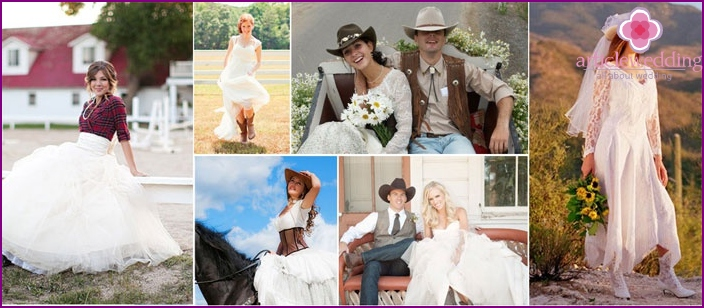 The outfits for the newlyweds in western style