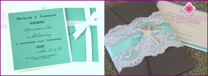 Wedding Invitations in Tiffany style