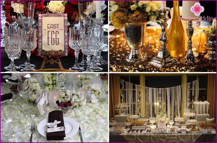 Table decor at a wedding Gatsby style