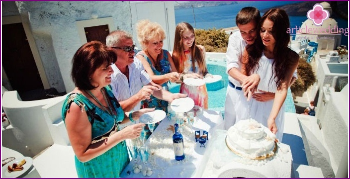 Feast after the registration of marriage in Greek