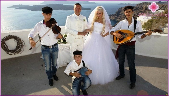 Musicians on Greek wedding