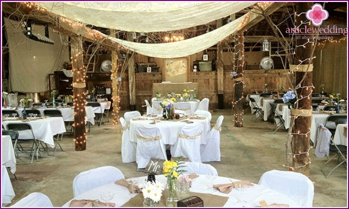 The colors and shades of the banquet hall in the style of rustic