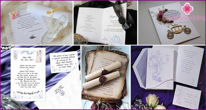 Invitation in the form of postcards or scroll