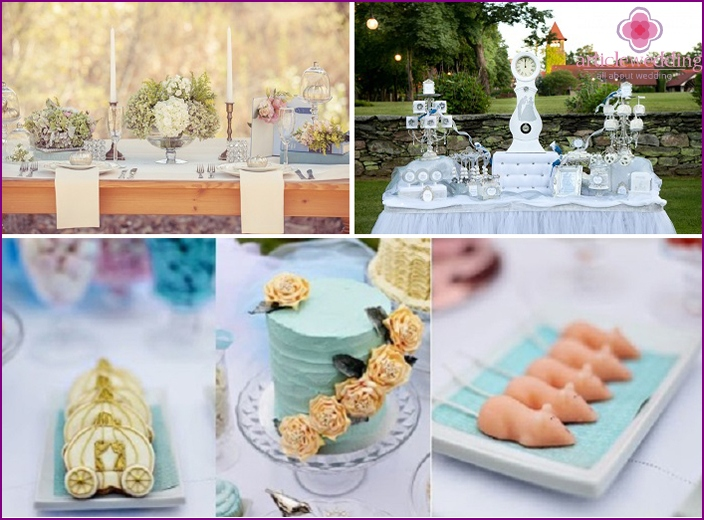 Decoration of wedding table in a fairy tale style