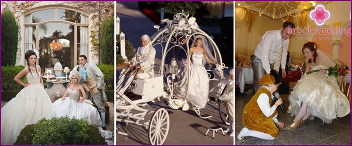 Variants of photos from the wedding in the style of Cinderella