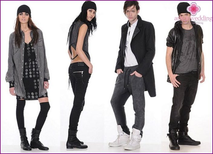 The outfits in rock style