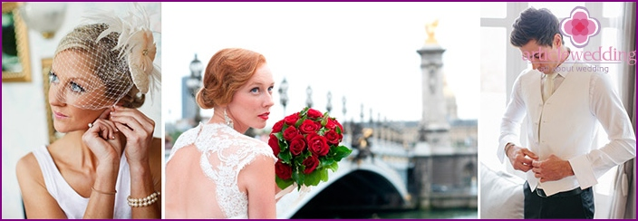 The image of the bride and groom in a Paris style