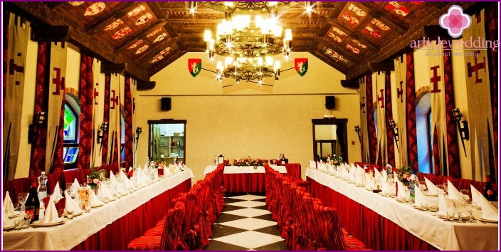 Banquet hall for medieval wedding feast