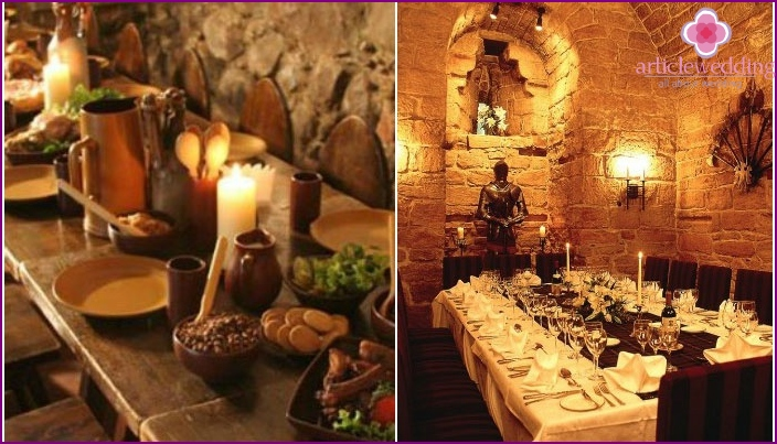 Details of medieval wedding banquet