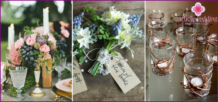 Themed wedding accessories on Grape