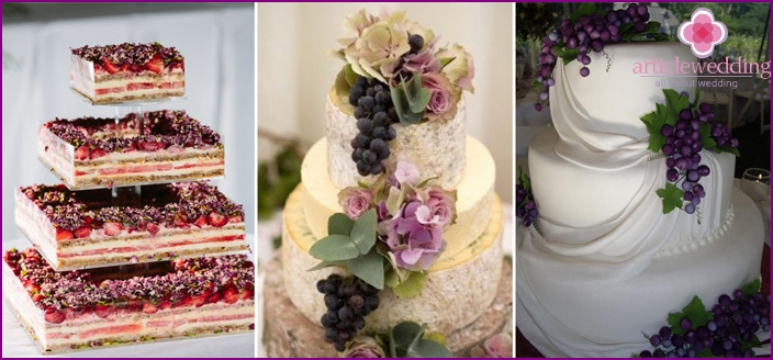 Cakes for wedding in the style of the grape