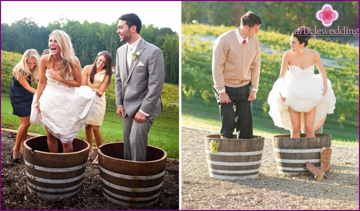 Newlyweds on a thematic photo shoot