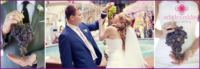 Bride and groom on wedding Vinogranoy