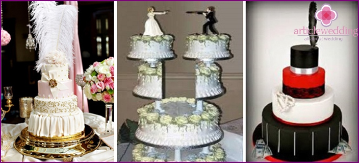 The original cakes for a wedding in the style of the Italian mafia