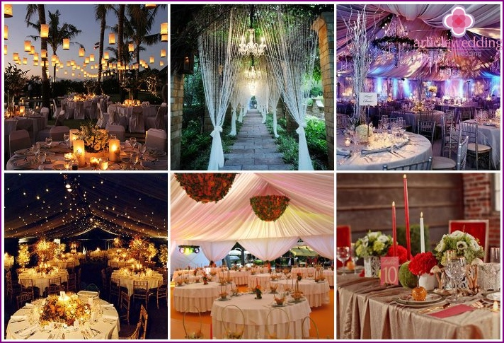 The decor of the banquet hall for the wedding