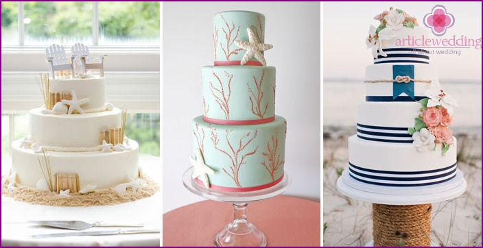 Stylish wedding cake colors of the sea