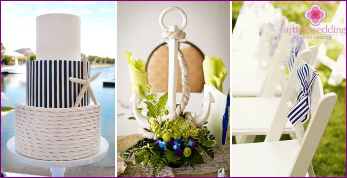 Accessories for brides in a marine style
