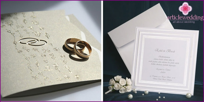 Invitation wedding cards in classic style