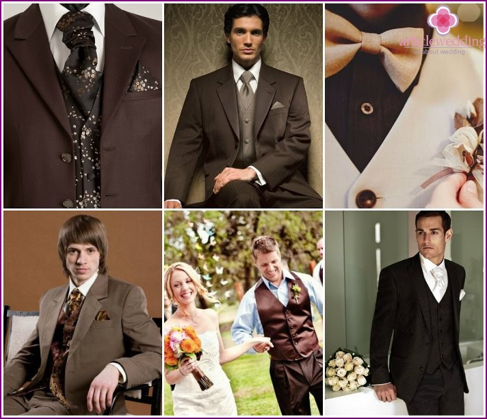 Wedding groom dress in brown tones