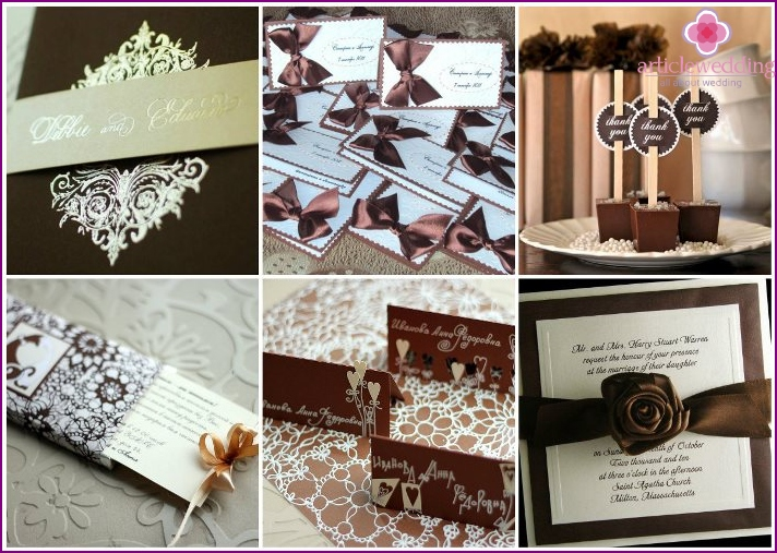 Chocolate Wedding invitations and cards for the seating arrangement