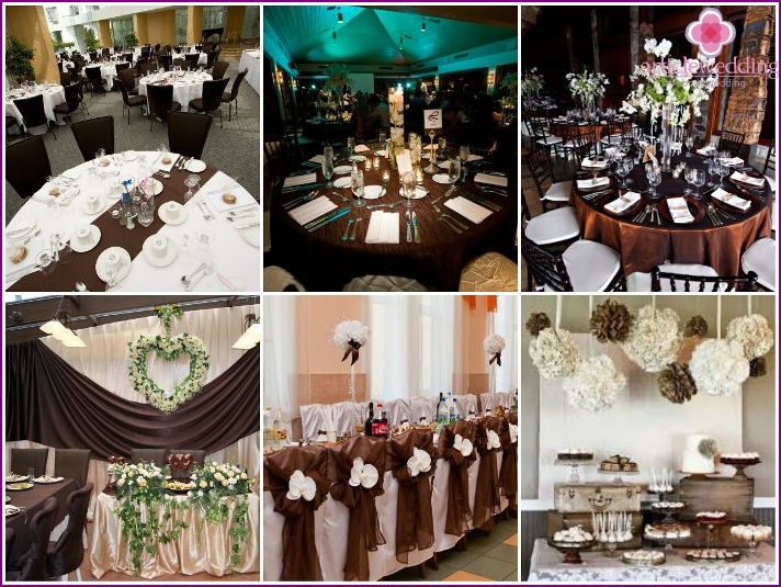 Chocolate style in the decoration of the banquet hall