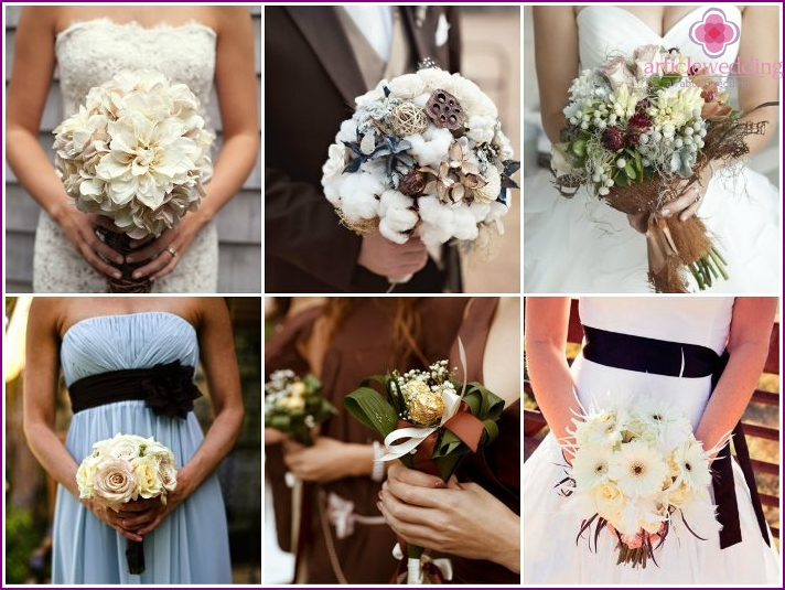 Bridal bouquet in brown palette