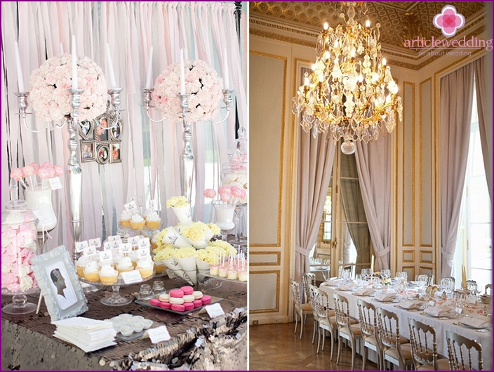 The decor of the banquet hall in the French style
