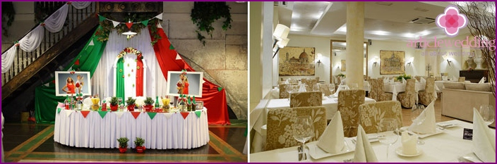 Italian theme for a wedding decoration