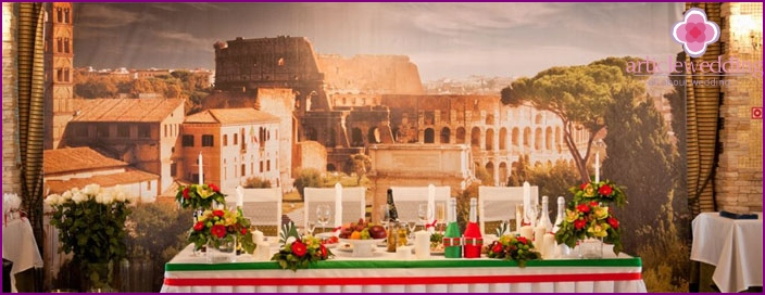 Decoration of the hall for wedding banquet Italian