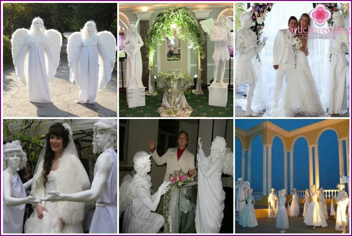 Living sculptures of angels at the wedding