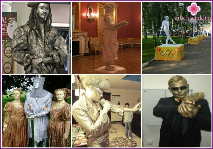 Historical characters living statues at the wedding